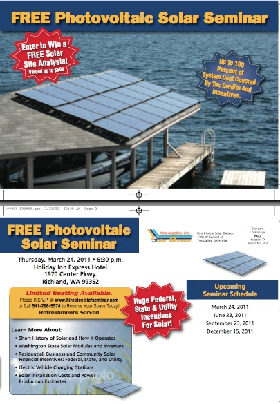 Flier for Solar Seminar in Tri Cities, Washington Dec 15, 2011