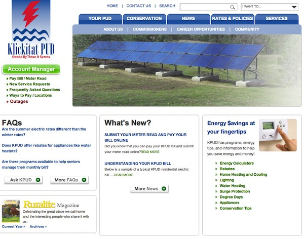 Klickitat PUD features Hire Electric project on Home Page