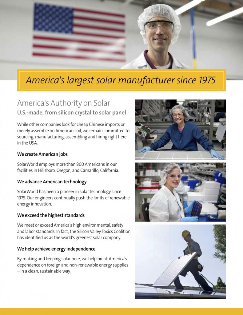 SolarWorld new Made in USA Brochure